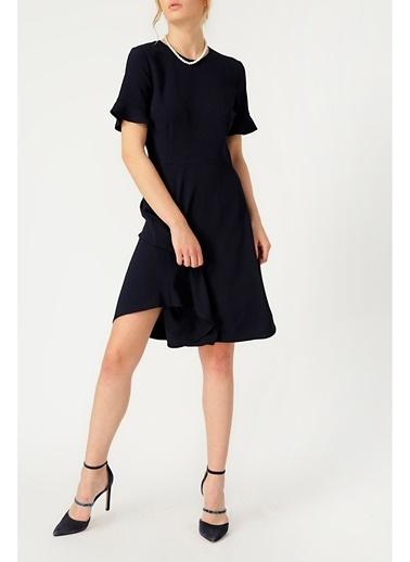Random Kadın Kolu Volan Detaylı Lacivert Elbise Lacivert